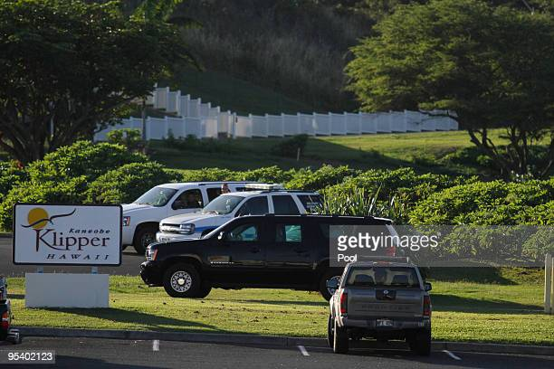 US President Barack Obama departs from Kaneohe Klipper Golf Course at Marine Corps Base Hawaii on Saturday December 26 2009 in Kaneohe Bay Hawaii...
