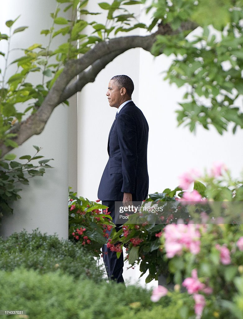 U.S. President Barack Obama departs the South Lawn of the White House July 24, 2013in Washington, DC. The President plans to deliver speeches in Galesburg, Illinois and Warrensburg, Missouri.