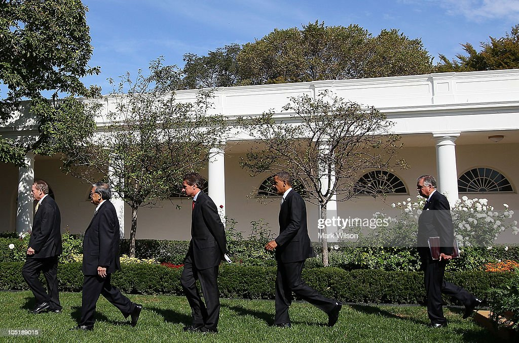 S President Barack Obama departs with former Transportation Secretary Samuel Skinner former Transportation Secretary Norman Mineta Treasury Secretary...
