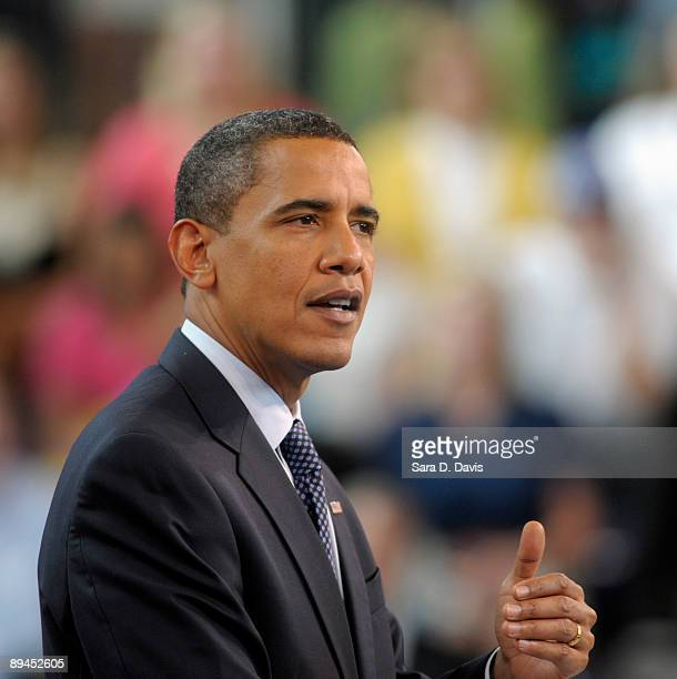 S President Barack Obama discusses health care reform during a town hall meeting at Broughton High School on July 29 2009 in Raleigh North Carolina...