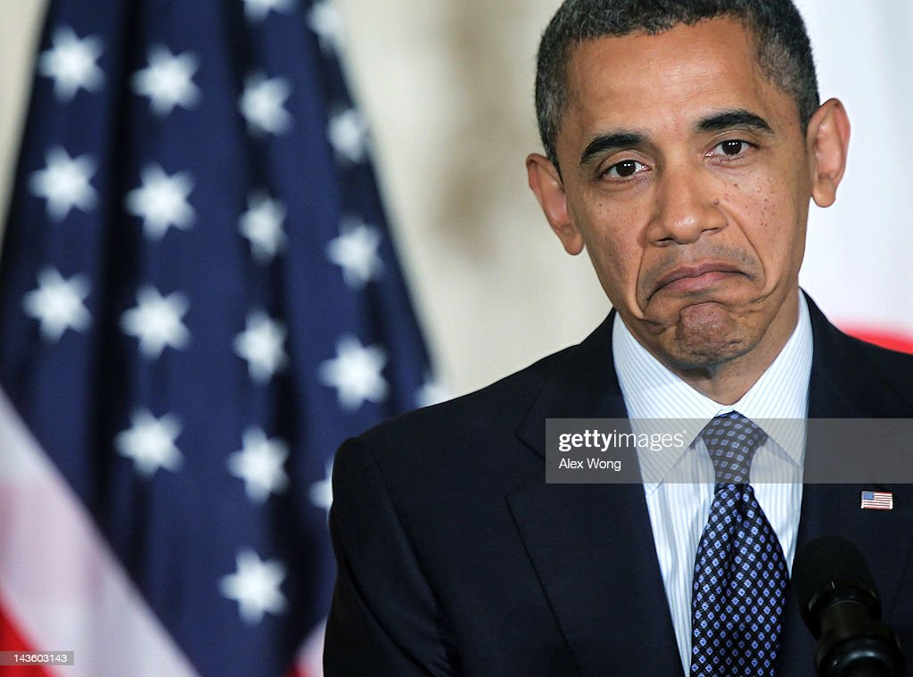 U.S. President <a gi-track='captionPersonalityLinkClicked' href=/galleries/search?phrase=Barack+Obama&family=editorial&specificpeople=203260 ng-click='$event.stopPropagation()'>Barack Obama</a> during a news conference with Japanese Prime Minister Yoshihiko Noda at the East Room of the White House April 30, 2012 in Washington, DC. Obama met with Noda to discuss a wide range of bilateral, regional and global issues, according to a White House news release.