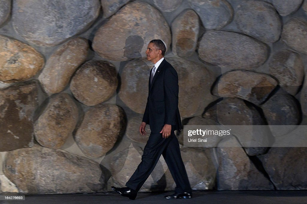 U.S. President Barack Obama during his visit to the Yad Vashem Holocaust Memorial museum on March 22, 2013 in Jerusalem, Israel. This is Obama's first visit as president to the region and his itinerary includes meetings with the Palestinian and Israeli leaders as well as a visit to the Church of the Nativity in Bethlehem.