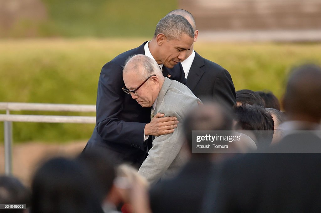 U.S. President Barack Obama embraces atomic bomb survivor Shigeaki Mori during his visit to the Hiroshima Peace Memorial Park on May 27, 2016 in Hiroshima, Japan. It is the first time U.S. President makes an official visit to Hiroshima, the site where the atomic bomb was dropped in the end of World War II on August 6, 1945.