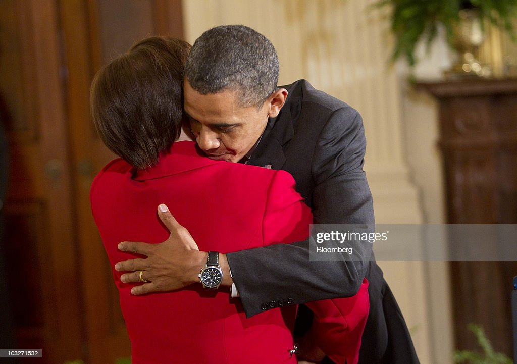 U.S. President <a gi-track='captionPersonalityLinkClicked' href=/galleries/search?phrase=Barack+Obama&family=editorial&specificpeople=203260 ng-click='$event.stopPropagation()'>Barack Obama</a> embraces <a gi-track='captionPersonalityLinkClicked' href=/galleries/search?phrase=Elena+Kagan&family=editorial&specificpeople=5704239 ng-click='$event.stopPropagation()'>Elena Kagan</a>, confirmed associate justice of the U.S. Supreme Court, during a reception in the East Room of the White House in Washington, D.C., U.S., on Friday, Aug. 6, 2010. Kagan will become the nation's 112th justice tomorrow at a U.S. Supreme Court ceremony after the Senate gave President <a gi-track='captionPersonalityLinkClicked' href=/galleries/search?phrase=Barack+Obama&family=editorial&specificpeople=203260 ng-click='$event.stopPropagation()'>Barack Obama</a> his second appointment to the high court in two years. Photographer: Andrew Harrer/Bloomberg via Getty Images