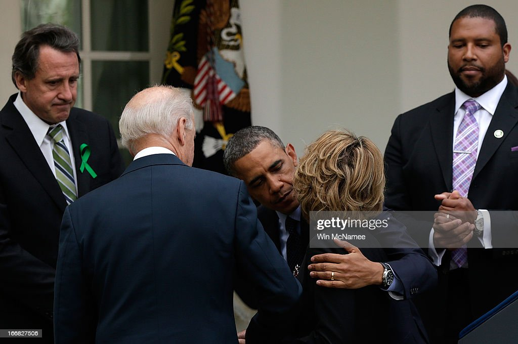 U.S. President Barack Obama embraces former Rep. Gabby Giffords after making a statement on gun violence in the Rose Garden of the White House on April 17, 2013 in Washington, DC. Earlier today the Senate defeated a bi-partisan measure to expand background checks for gun sales.