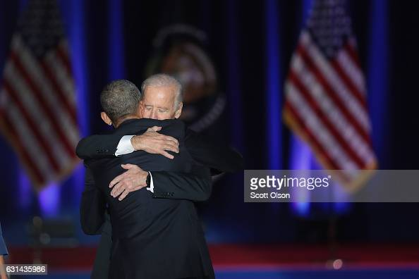 President Barack Obama embraces Vice President Joe Biden after Obama delivered his farewell speech to the nation on January 10 2017 in Chicago...