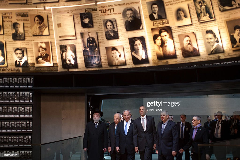 U.S. President Barack Obama enters the Hall of Names with Rabbi Yisrael Meir Lau, Israel's Prime Minster Benjamin Netanyahu, Chairman of the Yad Vashem Directorate Avner Shalev and Israel's President Shimon Peres during his visit to the Yad Vashem Holocaust Memorial museum on March 22, 2013 in Jerusalem, Israel. This is Obama's first visit as president to the region and his itinerary includes meetings with the Palestinian and Israeli leaders as well as a visit to the Church of the Nativity in Bethlehem.