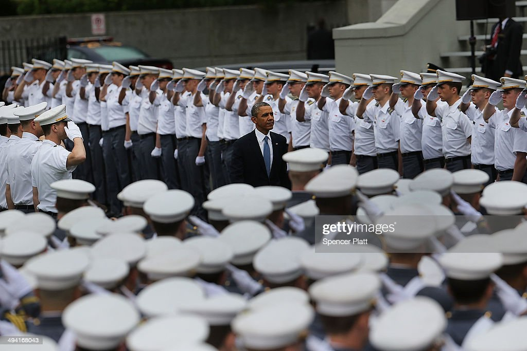 U.S. President <a gi-track='captionPersonalityLinkClicked' href=/galleries/search?phrase=Barack+Obama&family=editorial&specificpeople=203260 ng-click='$event.stopPropagation()'>Barack Obama</a> enters the stadium at West Point to give the commencement address at the graduation ceremony at the U.S. Military Academy on May 28, 2014 in West Point, New York. In a highly anticipated speech on foreign policy, the President provided details on his plans for winding down America's military commitment in Afghanistan. Over 1,000 cadets are expected to graduate from the class of 2014 and will be commissioned as second lieutenants in the U.S. Army.