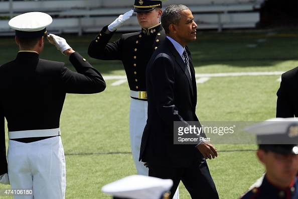 S President Barack Obama enters the US Coast Guard Academy to give the keynote address at commencement exercises on May 20 2015 in New London...