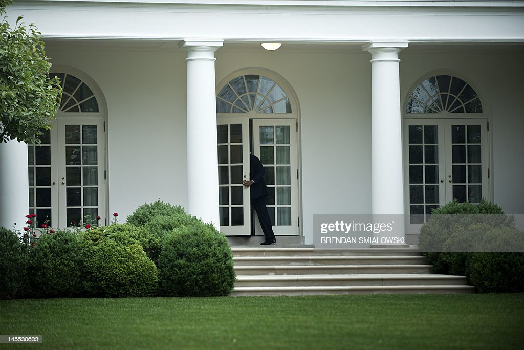 US President Barack Obama enters the West Wing from the colonnade of the White House June 1 2012 in Washington DC Obama is traveling to Minneapolis...