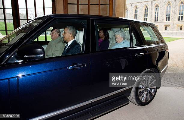 President Barack Obama First Lady Michelle Obama and Queen Elizabeth II arrive at the Sovereign's Entrance in the Quadrangle of Windsor Castle driven...