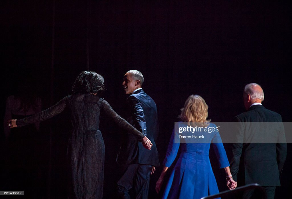 U.S. President Barack Obama, first lady Michelle Obama, President Joe Biden and his wife Dr. Jill Biden walk off stage after Obama's farewell address at McCormick Place on January 10, 2017 in Chicago, Illinois. Obama addressed the nation in what is expected to be his last trip outside Washington as president. President-elect Donald Trump will be sworn in the as the 45th president on January 20.