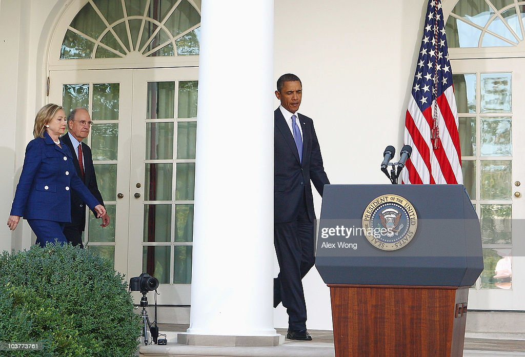 U.S. President Barack Obama (R), followed by Secretary of State Hillary Rodham Clinton (L) and Special Envoy for the Middle East George Mitchell (2nd L), as he approaches the podium in the Rose Garden for statement after bilateral meetings with leaders of Middle East countries, including Palestinian Authority President Mahmoud Abbas, Israeli Prime Minister Benjamin Netanyahu, Egyptian President Hosni Mubarak and Jordan�s King Abdullah II, September 1, 2010 in Washington, DC. The White House has kicked off a new round of direct peace talks for the Middle East, the first one in more than 18 months.