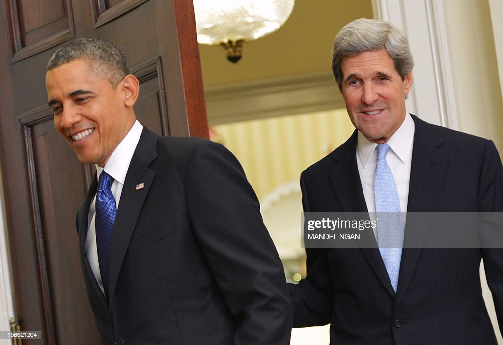 US President Barack Obama followed by Senator John Kerry D-MA enters the Roosevelt Room of the White House on December 21, 2012 in Washington, DC. Obama nominated Kerry to be the next secretary of state. AFP PHOTO/Mandel NGAN