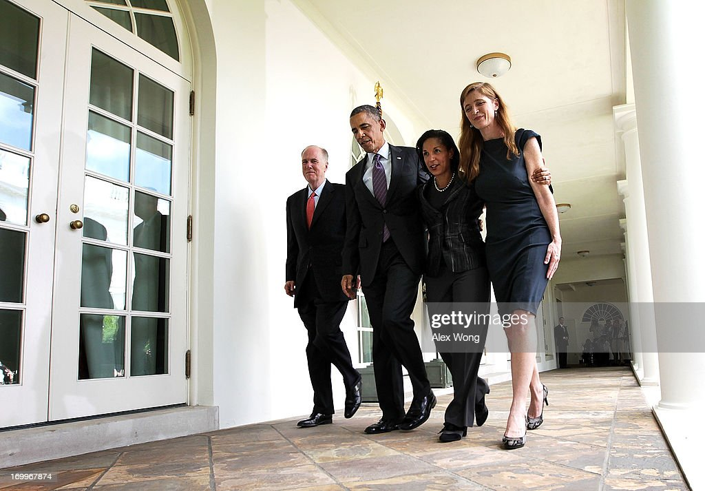 U.S. President Barack Obama (2nd L), former aide Samantha Power (R), U.S. Ambassador to the United Nations Susan Rice (3rd L) and incumbent National Security Adviser Tom Donilon (L) return to the Oval Office after a personnel announcement at the Rose Garden of the White House June 5, 2013 in Washington, DC. President Obama has nominated Rice to succeed Donilon to become the next National Security Adviser. Obama has also nominated Power to succeed Rice for her position to UN.