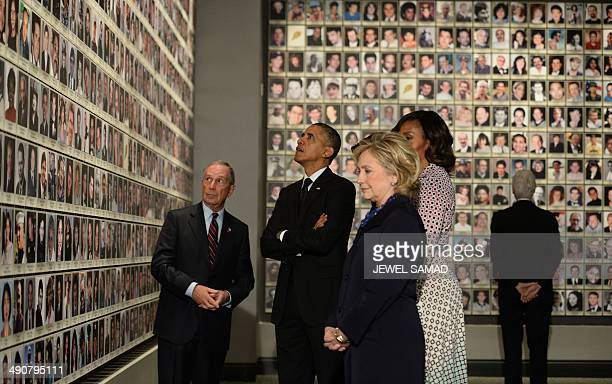 US President Barack Obama former New York Mayor Michael Bloomberg US First Lady Michelle Obama former Secretary of State Hillary Clinton and former...