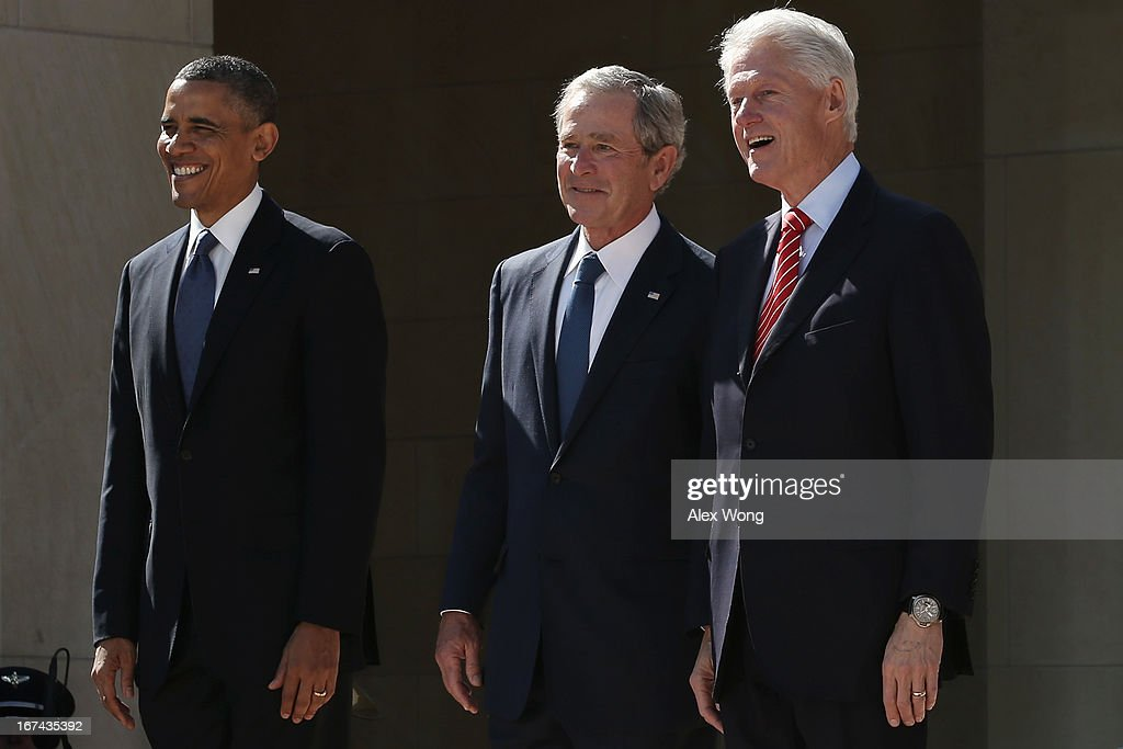 U.S. President Barack Obama, former President George W. Bush and former President Bill Clinton attend the opening ceremony of the George W. Bush Presidential Center April 25, 2013 in Dallas, Texas. The Bush library, which is located on the campus of Southern Methodist University, with more than 70 million pages of paper records, 43,000 artifacts, 200 million emails and four million digital photographs, will be opened to the public on May 1, 2013. The library is the 13th presidential library in the National Archives and Records Administration system.
