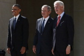 US President Barack Obama former President George W Bush and former President Bill Clinton attend the opening ceremony of the George W Bush...