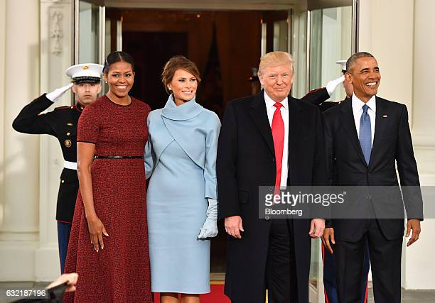 US President Barack Obama from right US Presidentelect Donald Trump US First Ladyelect Melania Trump and US First Lady Michelle Obama stand for a...