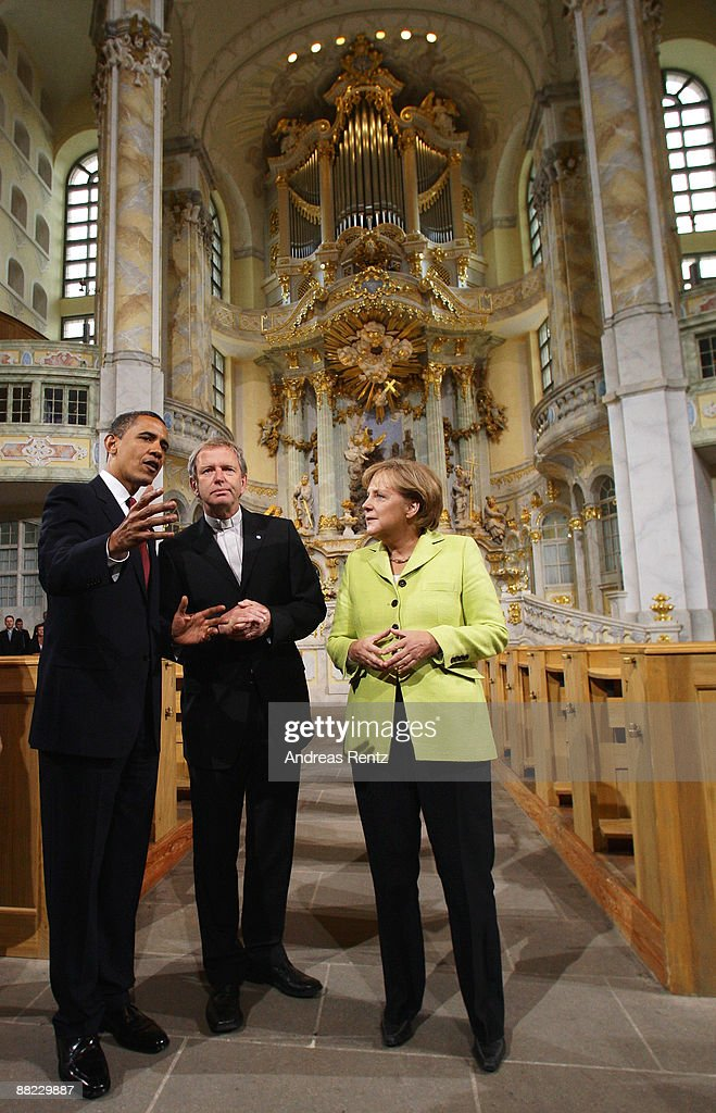 US President <a gi-track='captionPersonalityLinkClicked' href=/galleries/search?phrase=Barack+Obama&family=editorial&specificpeople=203260 ng-click='$event.stopPropagation()'>Barack Obama</a>, German Chancellor <a gi-track='captionPersonalityLinkClicked' href=/galleries/search?phrase=Angela+Merkel&family=editorial&specificpeople=202161 ng-click='$event.stopPropagation()'>Angela Merkel</a> and bishop Jochen Bohl tour Dresden's landmark, the Frauenkirche (Church of Our Lady) on June 5, 2009 in Dresden, Germany. After policy talks and a news conference in Dresden, Obama and Merkel are due to travel to Buchenwald, the former Nazi concentration camp where more than 56,000 prisoners died in horrendous conditions.