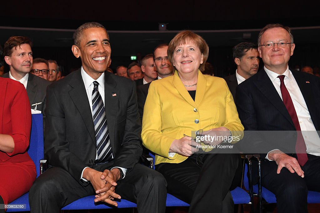 U.S. President Barack Obama, German chancellor Angela Merkel and Minister President of Lower Saxony Stephan Weil attend the opening evening of the Hannover Messe trade fair on April 24, 2016 in Hanover, Germany. Obama met with German Chancellor Angela Merkel in Hanover earlier in the day and is scheduled to tour exhibition halls at the fair tomorrow. Hannover Messe is the world's largest industrial trade fair.