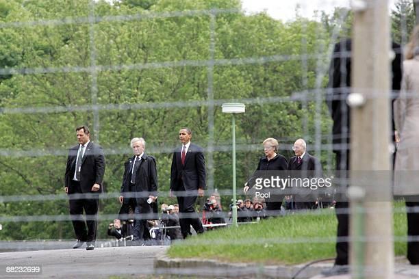 S President Barack Obama German Chancellor Angela Merkel Buchenwald concentration camp survivor Elie Wiesel and International Buchenwald Committee...