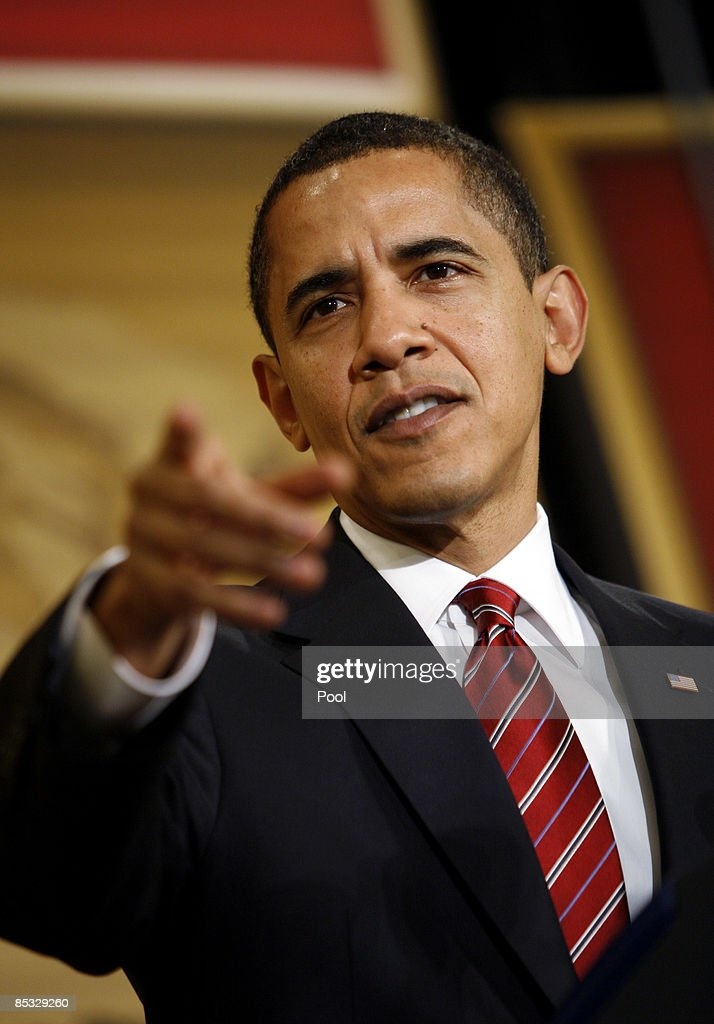 US President Barack Obama gestures as he delivers remarks at the US Hispanic Chamber of Commerce's 19th Annual Legislative Conference at the...