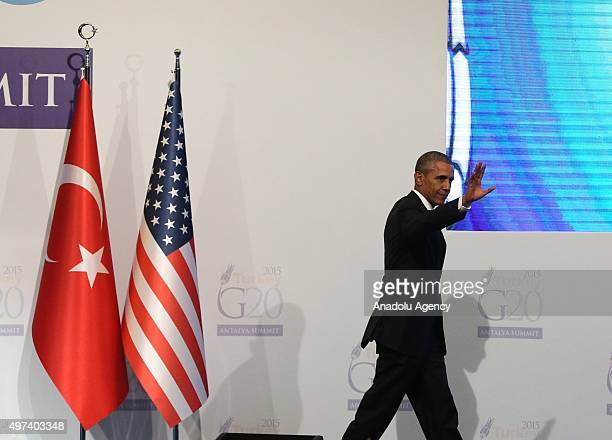 President Barack Obama gestures during a press conference on day two of the G20 Turkey Leaders Summit on November 16 2015 in Antalya Turkey