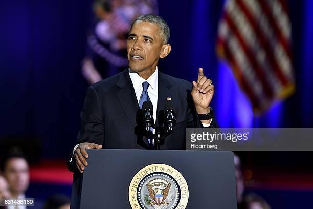 US President Barack Obama gestures during his farewell address in Chicago Illinois US on Tuesday Jan 10 2017 Obama blasted 'zerosum' politics as he...
