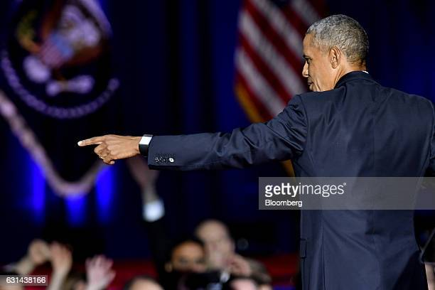 US President Barack Obama gestures to the audience after delivering his farewell address in Chicago Illinois US on Tuesday Jan 10 2017 Obama blasted...