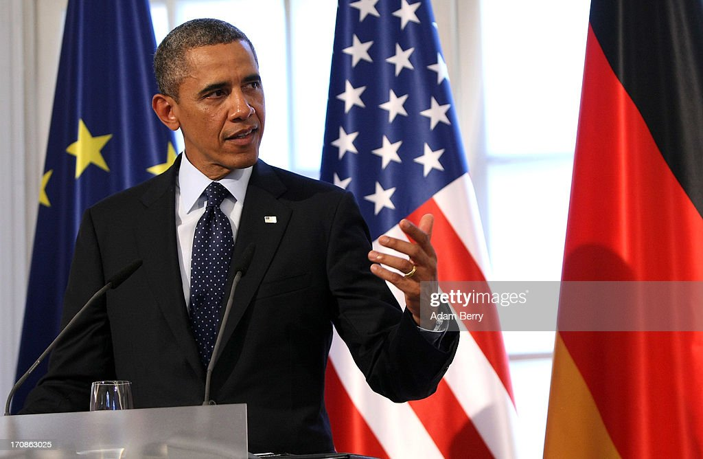 U.S. President <a gi-track='captionPersonalityLinkClicked' href=/galleries/search?phrase=Barack+Obama&family=editorial&specificpeople=203260 ng-click='$event.stopPropagation()'>Barack Obama</a> gives a speech during a dinner at the Orangerie at Schloss Charlottenburg palace on June 19, 2013 in Berlin, Germany. Obama is visiting Berlin for the first time during his presidency and his speech at the Brandenburg Gate is to be the highlight. Obama spoke close to the 50th anniversary of the historic speech by then U.S. President John F. Kennedy in Berlin in 1963, during which he proclaimed the famous sentence: 'Ich bin ein Berliner.'