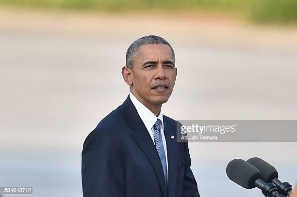 S President Barack Obama gives a speech during his visit to the Hiroshima Peace Memorial Park on May 27 2016 in Hiroshima Japan It is the first time...
