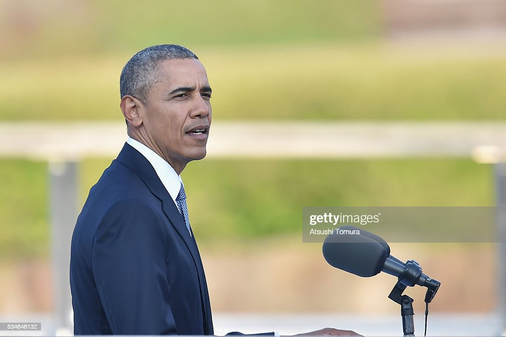 U.S. President <a gi-track='captionPersonalityLinkClicked' href=/galleries/search?phrase=Barack+Obama&family=editorial&specificpeople=203260 ng-click='$event.stopPropagation()'>Barack Obama</a> gives a speech during his visit to the Hiroshima Peace Memorial Park on May 27, 2016 in Hiroshima, Japan. It is the first time U.S. President makes an official visit to Hiroshima, the site where the atomic bomb was dropped in the end of World War II on August 6, 1945.