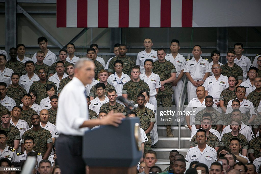 U.S. President Barack Obama gives a speech to the U.S. and Japanese servicemen and their families at the Marine Corps Air Station Iwakuni (MCAS Iwakuni) on May 27, 2016 in Iwakuni, Japan. President Barack Obama flew in to the MCAS Iwakuni on Air Force One, and visited the troops before visiting Hiroshima.