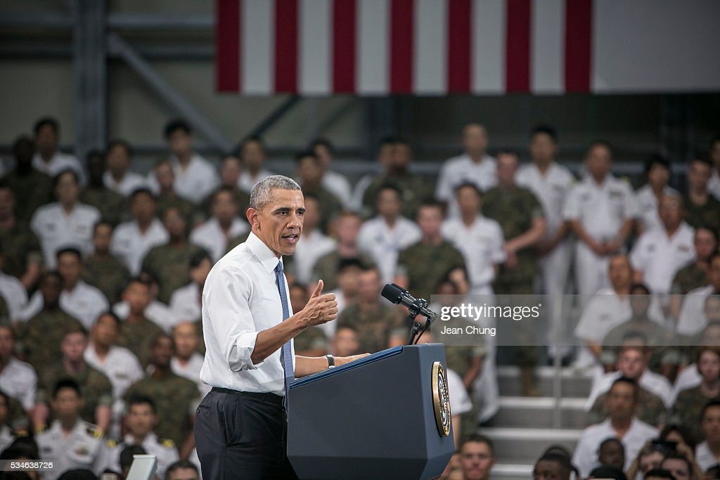 U.S. President <a gi-track='captionPersonalityLinkClicked' href=/galleries/search?phrase=Barack+Obama&family=editorial&specificpeople=203260 ng-click='$event.stopPropagation()'>Barack Obama</a> gives a speech to the U.S. and Japanese servicemen and their families at the Marine Corps Air Station Iwakuni (MCAS Iwakuni) on May 27, 2016 in Iwakuni, Japan. President <a gi-track='captionPersonalityLinkClicked' href=/galleries/search?phrase=Barack+Obama&family=editorial&specificpeople=203260 ng-click='$event.stopPropagation()'>Barack Obama</a> flew in to the MCAS Iwakuni on Air Force One, and visited the troops before visiting Hiroshima.