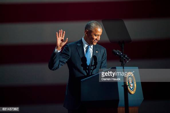 S President Barack Obama gives his farewell speech at McCormick Place on January 10 2017 in Chicago Illinois Obama addressed the nation in what is...