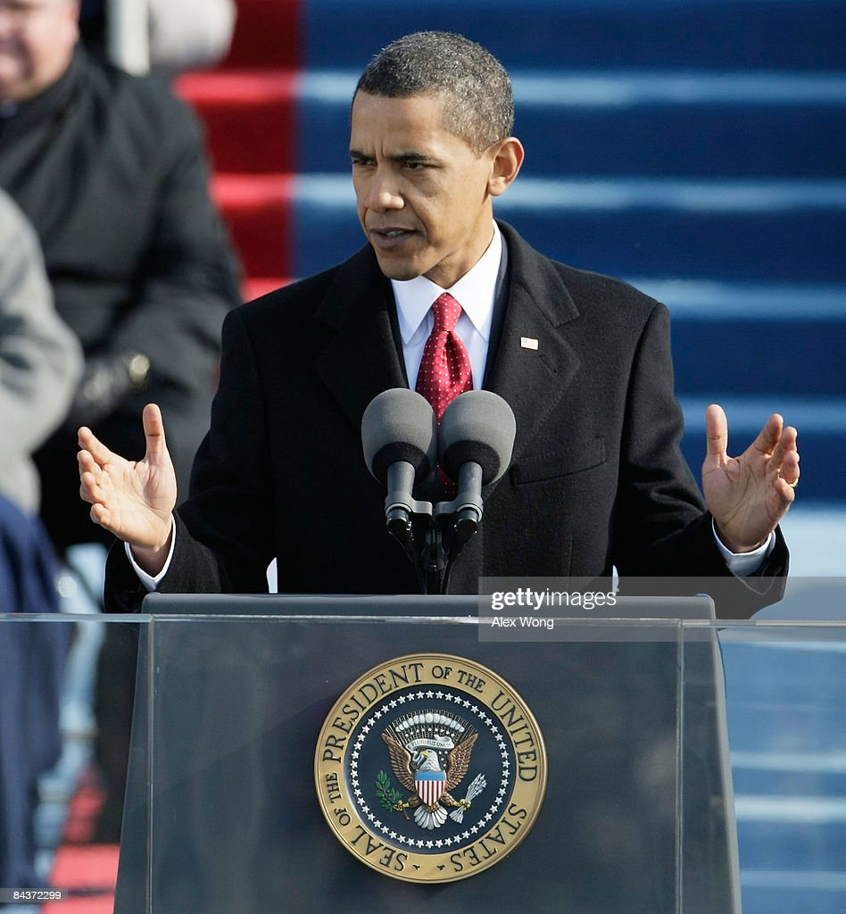 President Barack Obama gives his inaugural address during his inauguration as the 44th President of the United States of America on the West Front of...