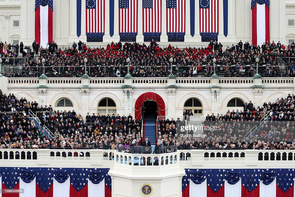 U.S. President Barack Obama gives his inauguration address during the public ceremonial inauguration on the West Front of the U.S. Capitol January 21, 2013 in Washington, DC. Barack Obama was re-elected for a second term as President of the United States.