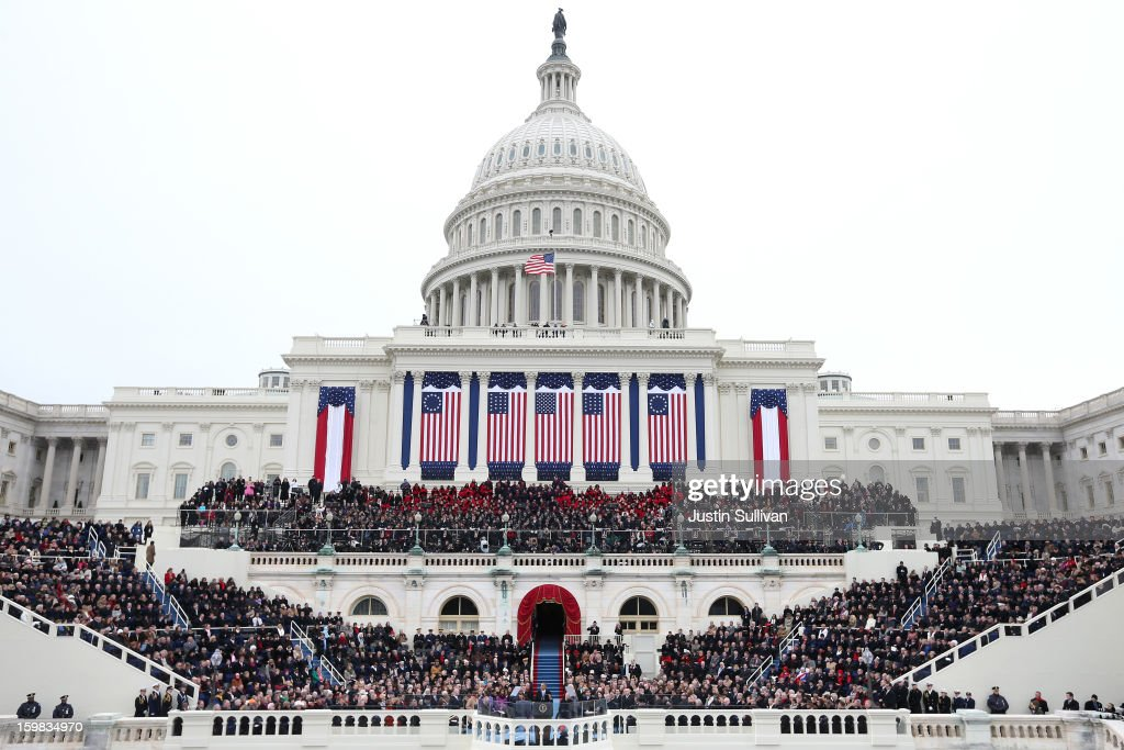 S President Barack Obama gives his inauguration address during the public ceremonial inauguration on the West Front of the US Capitol January 21 2013...