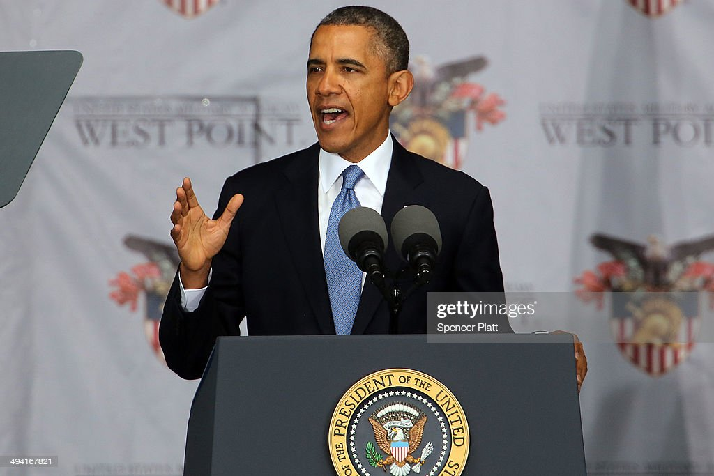 S President Barack Obama gives the commencement address at the graduation ceremony at the US Military Academy at West Point on May 28 2014 in West...