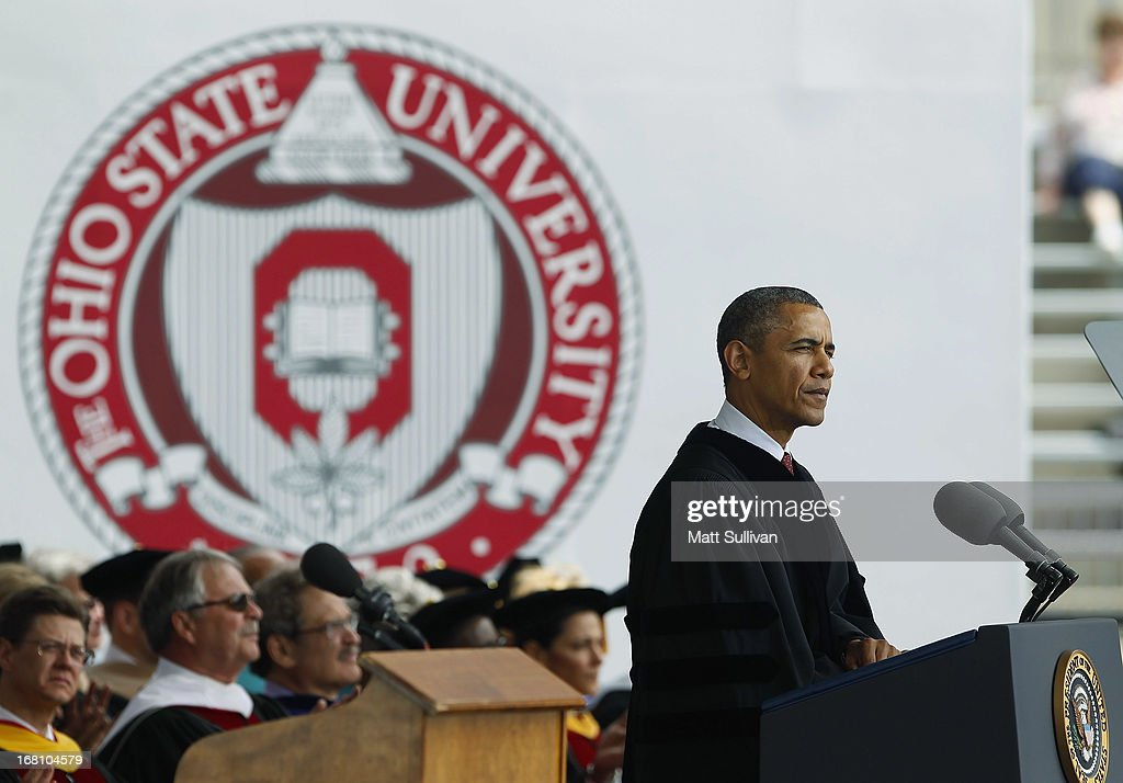 U.S. President <a gi-track='captionPersonalityLinkClicked' href=/galleries/search?phrase=Barack+Obama&family=editorial&specificpeople=203260 ng-click='$event.stopPropagation()'>Barack Obama</a> gives the commencement address to the graduating class of The Ohio State University at Ohio Stadium on May 5, 2013 in Columbus, Ohio. Obama addressed the graduates a year from the day he kicked off his re-election campaign at the campus.The president was also given an honorary degree Doctor of Laws.