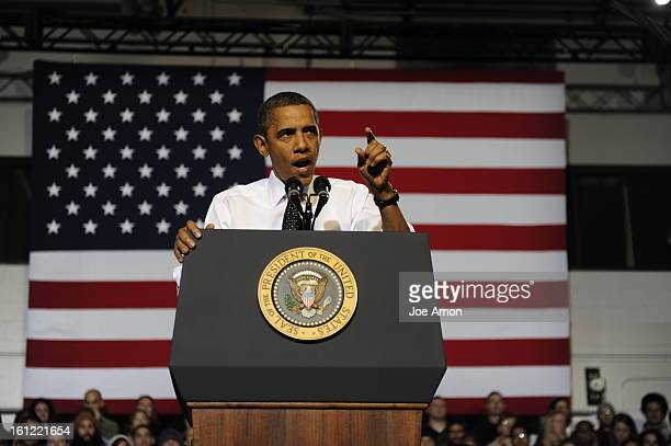 President Barack Obama giving a speech on student loan restructuring at the Auraria Events Center on the Auraria Campus Wednesday morning in downtown...