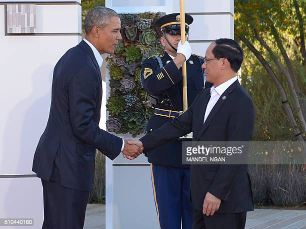 US President Barack Obama greets ASEAN Secretary General Le Luong Minh upon arrival at Sunnylands estate for a meeting of the Association of...
