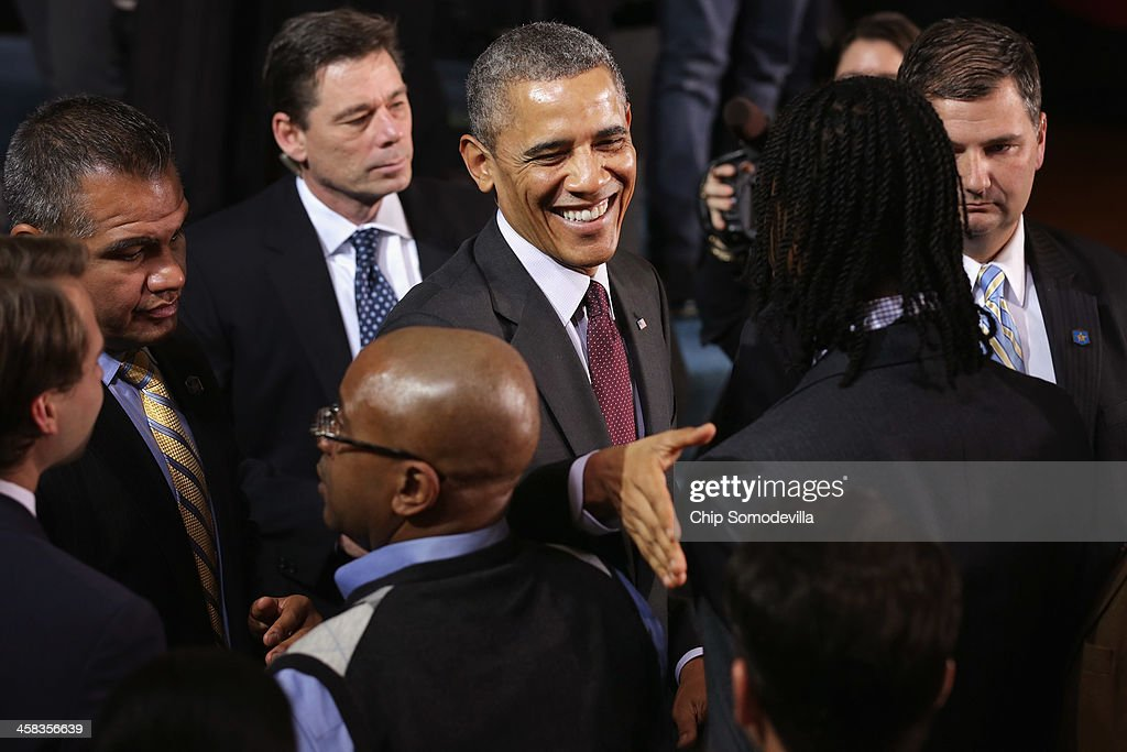 U.S. President <a gi-track='captionPersonalityLinkClicked' href=/galleries/search?phrase=Barack+Obama&family=editorial&specificpeople=203260 ng-click='$event.stopPropagation()'>Barack Obama</a> greets guests after delivering remarks about the ConnectED program at Buck Lodge Middle School February 4, 2014 in Adelphi, Maryland. As part of the president's ConnectED program, Obama has tasked the Federal Communications Commission to help to build high-speed digital connections to America's schools and libraries, with the goal of getting 99-percent of American students to next-generation broadband and wireless technology within five years.
