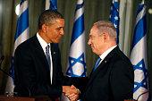US President Barack Obama greets Israeli Prime Minister Benjamin Netanyahu during a press conference on March 20 2013 in Jerusalem Israel This is...