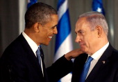 S President Barack Obama greets Israeli Prime Minister Benjamin Netanyahu during a press conference on March 20 2013 in Jerusalem Israel This is...
