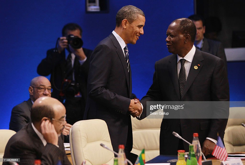 U.S. President <a gi-track='captionPersonalityLinkClicked' href=/galleries/search?phrase=Barack+Obama&family=editorial&specificpeople=203260 ng-click='$event.stopPropagation()'>Barack Obama</a> (L) greets Ivory Coast President <a gi-track='captionPersonalityLinkClicked' href=/galleries/search?phrase=Alassane+Ouattara&family=editorial&specificpeople=697562 ng-click='$event.stopPropagation()'>Alassane Ouattara</a> at a meeting of G8 leaders and African leaders on the second day of the G8 Summit on May 27, 2011 in Deauville, France. The Tunisian Prime Minister, Beji Caid el Sebsi, and Egyptian Prime Minister, Essam Sharaf, are due to meet with G8 leaders today to discuss aid packages as the recent Arab Spring uprisings continue to dominate the talks. Furthermore, the meeting will also continue to address security, trade issues, nuclear safety and climate change.