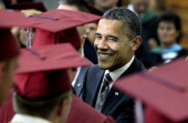 S President Barack Obama greets Joplin High School graduates just before Monday night's commencement ceremony for the Class of 2012 at the Missouri...