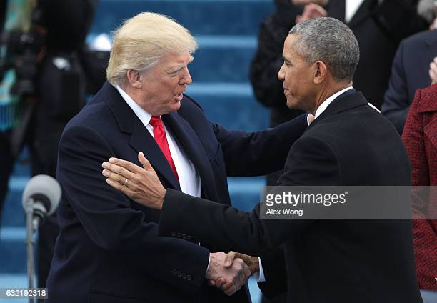 President Barack Obama greets President Elect Donald Trump on the West Front of the US Capitol on January 20 2017 in Washington DC In today's...