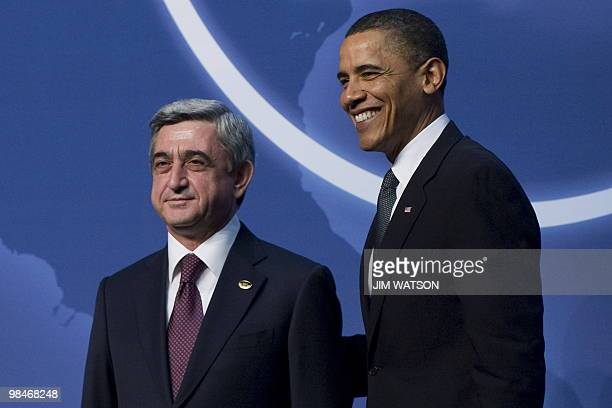 US President Barack Obama greets President of Armenia Serzh Sarkisian upon his arrival for dinner during the Nuclear Security Summit at the...